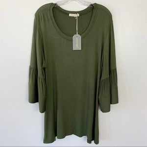 Anthropologie | Pebble and Stone Green Top